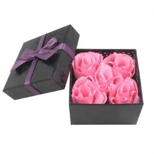 Paper roses in gift box, Paper, pink, 9.3cm x 9.3cm x 5.7cm, (LHH038)